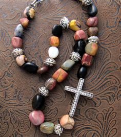 Gemstones.. Rhinestone cross.. jasper, labradorite, quartz nugget beads, by Ann Case, WiredWithLoveJewelry, $18.00