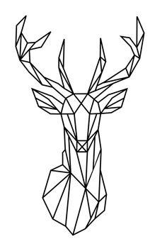 Vente AMBIANCE STICKER / 23259 / Nature et animaux / Sticker Origami tête de cerf Noir