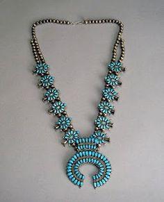 Turquoise Squash Blossom necklace - Zuni
