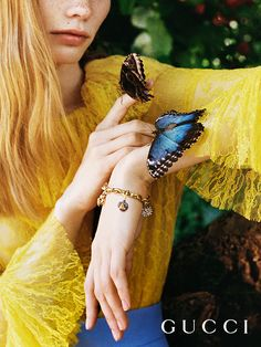 Presenting gifts from the Gucci Garden. Precious pieces from Gucci Gift; an 18 karat gold chain bracelet, with 18 karat gold charms encrusted with diamonds by Alessandro Michele.