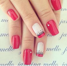 Imagen de nails, fashion, and girl Uñas Yois Red Nails, Love Nails, Pretty Nails, Spring Nail Art, Spring Nails, Summer Nails, Fabulous Nails, Perfect Nails, French Nails