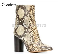 Autumn Winter Snakeskin Leather Woman Chunky Heels Ankle Boots Round Toe High Heels Short Boots Street Style Motorcycle Boots #Affiliate