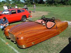 A cedar strip wooden car