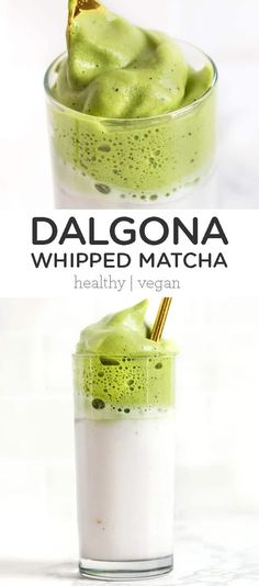 This whipped matcha recipe is a coffee-free twist on the popular Dalgona Korean coffee craze. This healthy, homemade whipped matcha recipe is perfect for non-coffee drinkers and easy to make. Made with coconut sugar and non-dairy almond milk. Yummy Drinks, Healthy Drinks, Dinner Healthy, Healthy Smoothies, Vegan Recipes, Cooking Recipes, Zoodle Recipes, Free Recipes, Recipe For 8