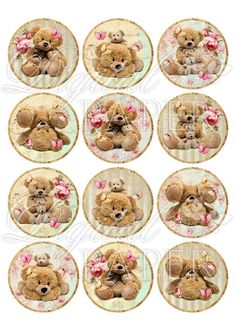 Teddy Bears - inch circles - set of 12 - digital collage sheet - pocket mirrors, tags, scrapbooking, cupcake toppers Etiquette Vintage, Images Vintage, Free To Use Images, Bottle Cap Crafts, Decoupage Vintage, Art Nouveau Design, Bottle Cap Images, Collage Sheet, Digital Collage