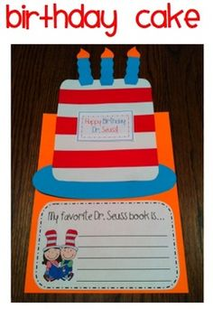 Help your little ones celebrate the great Dr. Seuss on his birthday!! They'll create a yummy cake and complete a writing activity!Here's what's...