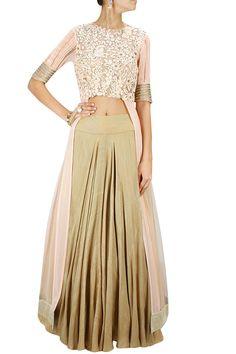 Gold shimmer textured lehenga BY RIDHIMA BHASIN.Shop now at: www.perniaspopups... #perniaspopupshop #designer #stunning #fashion #style #beautiful #happyshopping #love #updates