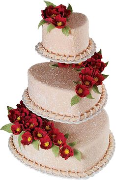 Stucco Trio Cake - A bevy of red fantasy flowers beautify this romantic heart cake. Attractive tiers are gracefully displayed on the Hearts Floating Tiers Cake Stand and finished with White Pearl Beading. Heart Wedding Cakes, Wedding Cake Photos, Amazing Wedding Cakes, Elegant Wedding Cakes, Wedding Cakes With Flowers, Wedding Cake Designs, Wedding Cake Toppers, Boho Wedding, Wedding Ideas