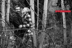 Fun times in the trees. #engagement #portrait #couple #spokane #washington #laughter #trees #outside #nature #blackandwhite