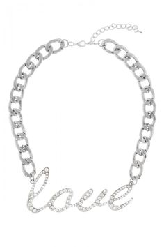LOVE Rhinestone Studded Silver Chain Necklace