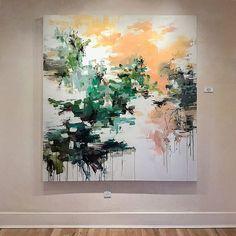 """Sunset Above the Tree-line"" 65x60 @hunterkirklandgallery #abstractart #contemporaryart #modernart #gallerywall #abstractlandscape #landscapepainting #painting #color #interiordesign #interior #art #artist #abstract #carlosramirez"