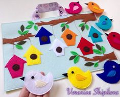 Birds in a tree quiet book page Diy Quiet Books, Baby Quiet Book, Felt Quiet Books, Quiet Book Templates, Quiet Book Patterns, Felt Patterns, Animal Crafts For Kids, Diy Crafts For Kids, Toddler Books