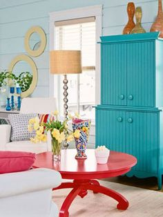 Teal and red... looks better than it sounds! cute!