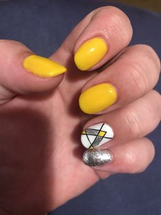 Gorgeous yellow with silver and white nail art in a fun pattern Silver Nail Art, White Nail Art, White Nails, Cool Patterns, Yellow, Fun, Beauty, White Nail Beds, White Nail