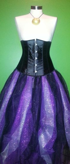 underbust corset tulle skirt ursula the sea witch costume/cosplay