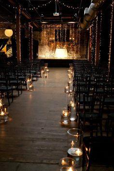 Industrial-Style Soirée wedding ceremony idea / http://www.deerpearlflowers.com/industrial-wedding-ceremony-decor-ideas/2/