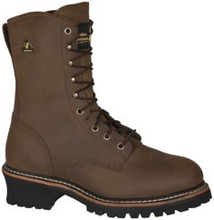 Golden Retriever Mens Crazy Horse WP Buffalo Leather Steel Toe Logger