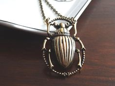 Large Beetle Necklace Steampunk Insect Pendant Creepy Crawler Scarab Vintage Style PeculiarCollective Inv0019 by PeculiarCollective on Etsy