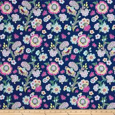 Amy Butler Night Music Midnight Bloom Indigo from @fabricdotcom  Designed by Amy Butler for Free Spirit Fabrics, this cotton print collection features vibrant teal colorways and a bohemian vibe. Perfect for quilting, apparel, and home decor accents. Colors include shades of blue, green, purple, and white.