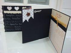 Mini álbum em scrapbook romântico para o mês dos namorados. Junto: cartão e embalagem todos decorados em scrap tb. Oficina da Lolli