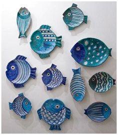Ceramic Fish Starfish Shaped Decorative Hanging Decor Plate Set Decoration On Wall Ceramic Clay, Ceramic Plates, Ceramic Pottery, Clay Projects, Clay Crafts, Arts And Crafts, Cerámica Ideas, Decor Ideas, Clay Fish