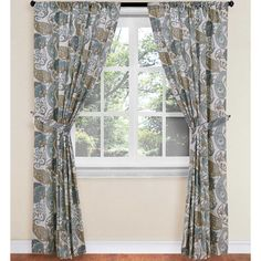 World Market® Paisley Floral Rod Pocket Window Curtain Panel in Blue