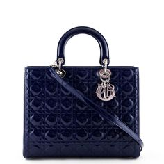 Dior Navy Patent Lambskin Large Lady Dior - LOVE that BAG - Preowned Authentic Designer Handbags - $3000 CAD