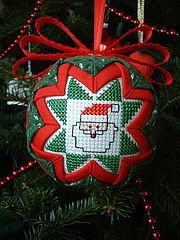 1992 folded star santa - always loved this little guy from Book 1 Quilted Christmas Ornaments, Christmas Cross, Handmade Christmas, Christmas Baubles, Merry Christmas, Star Ornament, Ornament Crafts, Handmade Ornaments, Ball Ornaments