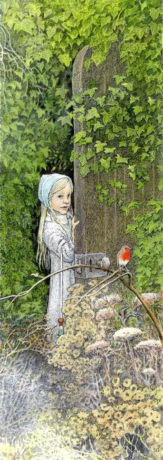 Mary finds The Secret Garden. She pushed back the door - by Inga Moore. Another classic from Frances Hodgson Burnett.