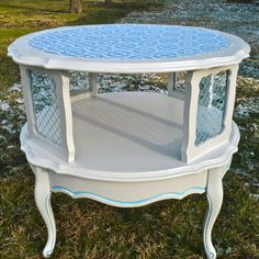 Two Tier End Table | Painted Furniture Tiered Table Round French Provincial End Table