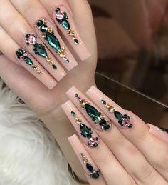 Classy Acrylic Nails, Acrylic Nails Coffin Pink, Long Square Acrylic Nails, Coffin Nails, Drip Nails, Gem Nails, Glitter Nails, Emerald Nails, Studded Nails