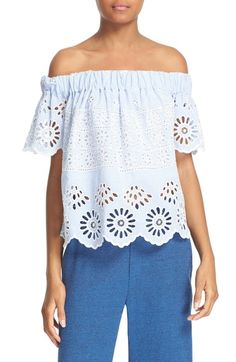 Main Image - Sea Eyelet Stripe Off the Shoulder Top Blue Off Shoulder Top, Off Shoulder Blouse, Oversized Striped Shirt, Eyelet Top, Spring Summer Fashion, Passion For Fashion, Style Inspiration, Clothes, Nordstrom