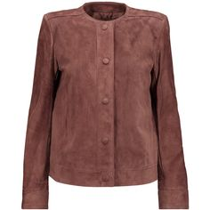 Helmut Lang Suede jacket (5.425 DKK) ❤ liked on Polyvore featuring outerwear, jackets, brick, red suede jacket, snap jacket, pocket jacket, suede jacket and red jacket