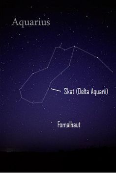From mid-northern latitudes, the constellation Aquarius and the bright star Fomalhaut - with the star Skat (Delta Aquarii) above it - rise into the southeast sky by around midnight in late July and early August