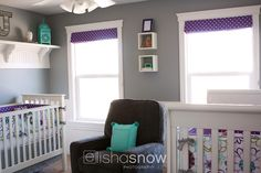 """LOVE this color combo for a baby girl nursery! Teal/purple/gray.  The bedding was custom-made from sheets that the mom bought at Pottery Barn Teen. I believe the name of the pattern was """"Madison."""""""