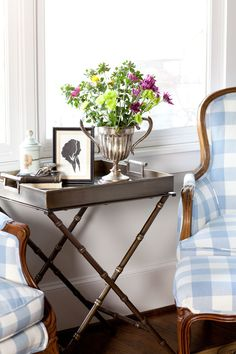 Using a tray as a side table featured on Farmhouse French Trays - Friday Tip #19 from Cedar Hill Farmhouse.