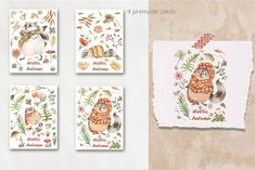 Raccoons, Autumn, Illustrations, Watercolor, Store, Frame, Cute, Cards, Decor