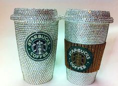 Blinged out Starbucks cups <3
