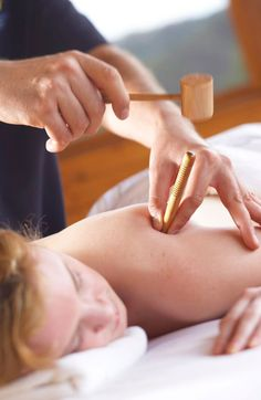 10 Exotic Spa Treatments (#1): Manaka Tapping involves a therapist tapping a wooden peg with a hammer on your body to relieve pain and induce euphoria.