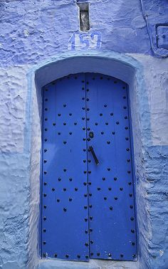the colorful and atmospheric blue doors of Chefchaouen, Morocco by jitenshaman, via Flickr