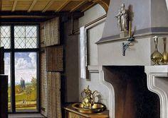 Detalle. Santa Bárbara. Esta tabla formaba parte de un tríptico del que era puerta lateral, en conjunto con la de San Juan Bautista y el franciscano Enrique Werl. Robert Campin, Museo del Prado, Madrid.