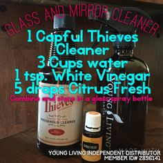 Thieves glass and Mirror cleaner Young living essential oils DIY Cleaner