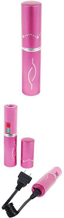 The Pink Lipstick Stun Gun with flashlight is portable and discreet. It packs 3 million volts of charge and is powered by a built-in rechargeable battery. Measuring only 5 inches tall and 1 inch around, this unit can fit into most any purse, pocket, backpack or briefcase.