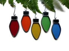 Stained Glass Christmas Lights Rainbow - Set of 5 Suncatchers Window Holiday Decoration