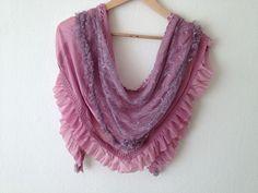 Hot pink  shawl Chiffon Lace Triangle fabric by SpecialFabrics