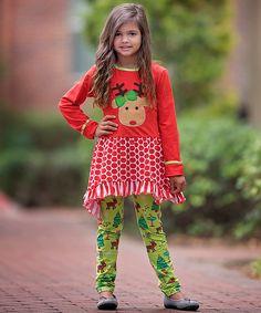 Red & Green Reindeer Tunic & Leggings - Infant, Toddler & Girls