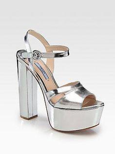 ba31ea4611c Prada metallic  heels  shoes  sandals Metallic Leather