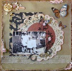 My mom is one of the two little girls.this pic was probably taken in Haiti since that is where they lived when Mom was that age. The strip of vintage lace was given to me Scrapbooking Vintage, Scrapbooking Layouts, Digital Scrapbooking, Scrapbook Layout Sketches, Scrapbook Designs, Family Tree Layout, Heritage Scrapbook Pages, Baby Scrapbook, Graphic 45