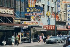 East Hastings street, with butcher shop turned burger joint Save-On Meats Courtesy of Museum of Vancouver Old Pictures, Old Photos, Vintage Photos, Vintage Signs, Hotel Motel, Five Star Hotel, Urban Life, Seattle Washington, Vancouver Island