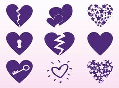 Purple Hearts Set vector free